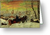 Snow Scenes Greeting Cards - Arriving for the Holidays Greeting Card by Boris Mihajlovic Kustodiev