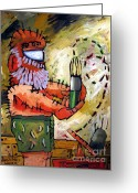 Artist Studio Greeting Cards - Art A Neat Trick Greeting Card by Charlie Spear