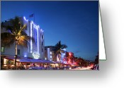Long Street Greeting Cards - Art Deco Building In Ocean Drive Greeting Card by Buena Vista Images