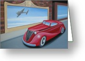 1930s Greeting Cards - Art Deco Coupe Greeting Card by Stuart Swartz