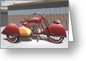 Motorcycle Art Greeting Cards - Art Deco Motorcycle with Sidecar Greeting Card by Stuart Swartz
