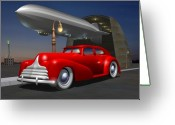1930s Greeting Cards - Art Deco Sedan Greeting Card by Stuart Swartz