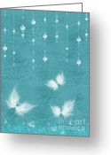 Aqua Art Greeting Cards - Art en Blanc - s11bt01 Greeting Card by Variance Collections