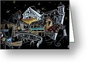 Arquitectura Greeting Cards - Art Night Design Original Drawing -  Gondola Squero San Trovaso Venezia Italia Greeting Card by Arte Venezia