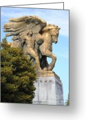Arlington Memorial Bridge Greeting Cards - Art of Peace Pegasus Greeting Card by Jost Houk