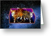Quantum Mechanics Greeting Cards - Art Of Schrodingers Cat Experiment Greeting Card by Volker Steger