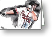 Sports Art Painting Greeting Cards - Art of the Braves Greeting Card by Torben Gray