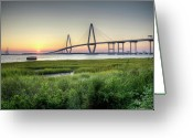 Ryan Greeting Cards - Arthur Ravenel Bridge Sunset Greeting Card by Dustin K Ryan