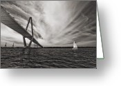 Carolina Greeting Cards - Arthur Ravenel Jr. Bridge over the Cooper River Greeting Card by Dustin K Ryan