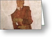 Signed Greeting Cards - Arthur Roessler Greeting Card by Egon Schiele