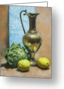 Green Artichoke Greeting Cards - Artichoke and Lemons Greeting Card by Anna Bain