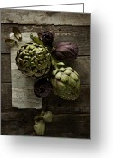 Green Artichoke Greeting Cards - Artichoke Greeting Card by Lew Robertson