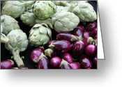 Photography - Food Greeting Cards - Artichokes and Eggplants  Greeting Card by Enzie Shahmiri