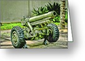 Canons Greeting Cards - Artillery Greeting Card by Cheryl Young