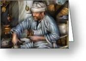 Pottery Photo Greeting Cards - Artist - Potter - The Potter Greeting Card by Mike Savad