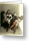 Erotic Sculpture Greeting Cards - Artist and 2 Models in Black Lingerie Greeting Card by Harry  Weisburd