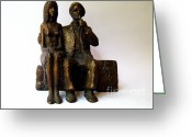 Artist Sculpture Greeting Cards - Artist and his Model Greeting Card by Nikola Litchkov