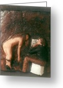 Low Relief Greeting Cards - Artist and Nude Model Greeting Card by Harry  Weisburd