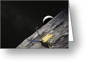 Rising From Earth Greeting Cards - Artist Concept Of The Lunar Greeting Card by Stocktrek Images