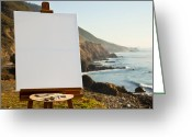 Easel Greeting Cards - Artist Easel and Canvas on Bluff Greeting Card by David Buffington