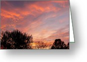 Sunset Greeting Cards Mixed Media Greeting Cards - Artist In The Sky Greeting Card by Connie Dye