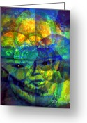 Male Forms Greeting Cards - Artist On Protected Mode Greeting Card by Fania Simon