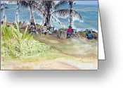 At Work Drawings Greeting Cards - Artists by the Sea Greeting Card by Kerryn Madsen-Pietsch