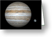 Astronomical Digital Art Greeting Cards - Artists Concept Comparing The Size Greeting Card by Walter Myers