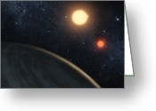 Primary Stars Greeting Cards - Artists Concept Illustrating Kepler-16b Greeting Card by Stocktrek Images