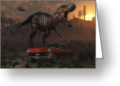Theropod Greeting Cards - Artists Concept Illustrating Greeting Card by Mark Stevenson