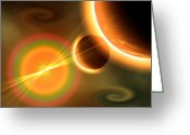 Twinkle Greeting Cards - Artists Concept Of A Solar Storm Greeting Card by Mark Stevenson
