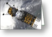 21st Century Art Greeting Cards - Artists Concept Of A Space Tug Docked Greeting Card by Walter Myers