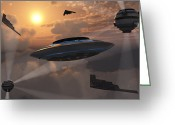 Flying Saucer Greeting Cards - Artists Concept Of Alien Stealth Greeting Card by Mark Stevenson
