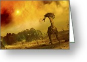 Cretaceous Greeting Cards - Artists Concept Of An Alien Planet Greeting Card by Walter Myers