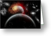 Orbit Greeting Cards - Artists Concept Of Cosmic Contrast Greeting Card by Mark Stevenson