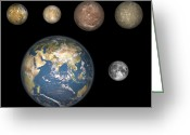 Astronomical Digital Art Greeting Cards - Artists Concept Of Jupiters Four Greeting Card by Walter Myers
