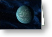 Astronomical Digital Art Greeting Cards - Artists Concept Of Kepler 22b, An Greeting Card by Stocktrek Images