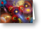 Twinkle Greeting Cards - Artists Concept Of Planets And Stars Greeting Card by Mark Stevenson