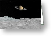 Astronomical Digital Art Greeting Cards - Artists Concept Of Saturn As Seen Greeting Card by Walter Myers