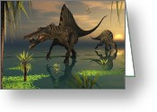 Theropod Greeting Cards - Artists Concept Of Spinosaurus Greeting Card by Mark Stevenson