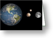 Scale Digital Art Greeting Cards - Artists Concept Of The Earth, Pluto Greeting Card by Walter Myers