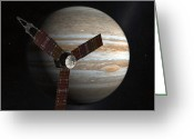 Space Travel Greeting Cards - Artists Concept Of The Juno Spacecraft Greeting Card by Stocktrek Images