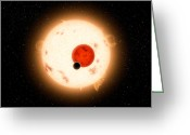 Primary Stars Greeting Cards - Artists Concept Of The Kepler-16 System Greeting Card by Stocktrek Images
