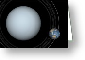 Astronomical Digital Art Greeting Cards - Artists Concept Of Uranus And Earth Greeting Card by Walter Myers