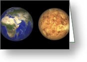 Astronomical Digital Art Greeting Cards - Artists Concept Showing Earth And Venus Greeting Card by Walter Myers
