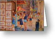 Resto Cafes Greeting Cards - Artists Corner Rue St Jacques Greeting Card by Carole Spandau