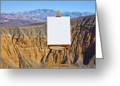 Easel Greeting Cards - Artists Easel and Canvas in Desert Greeting Card by David Buffington