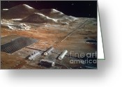Lunar Photo Greeting Cards - Artists Impression Of A Future Lunar Greeting Card by NASA / Science Source