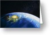 Extinction Greeting Cards - Artists Impression Of Asteroid Stiking Earth Greeting Card by Chris Butler