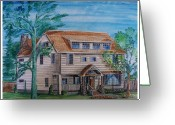 Residential Drawings Greeting Cards - Arts and Crafts Style Greeting Card by Eric  Schiabor